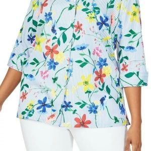Foxcroft Liberty Floral Striped Tunic Shirt